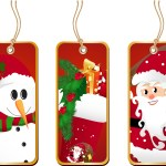 Whimsical Red Christmas Tags Printable Featuring Santa