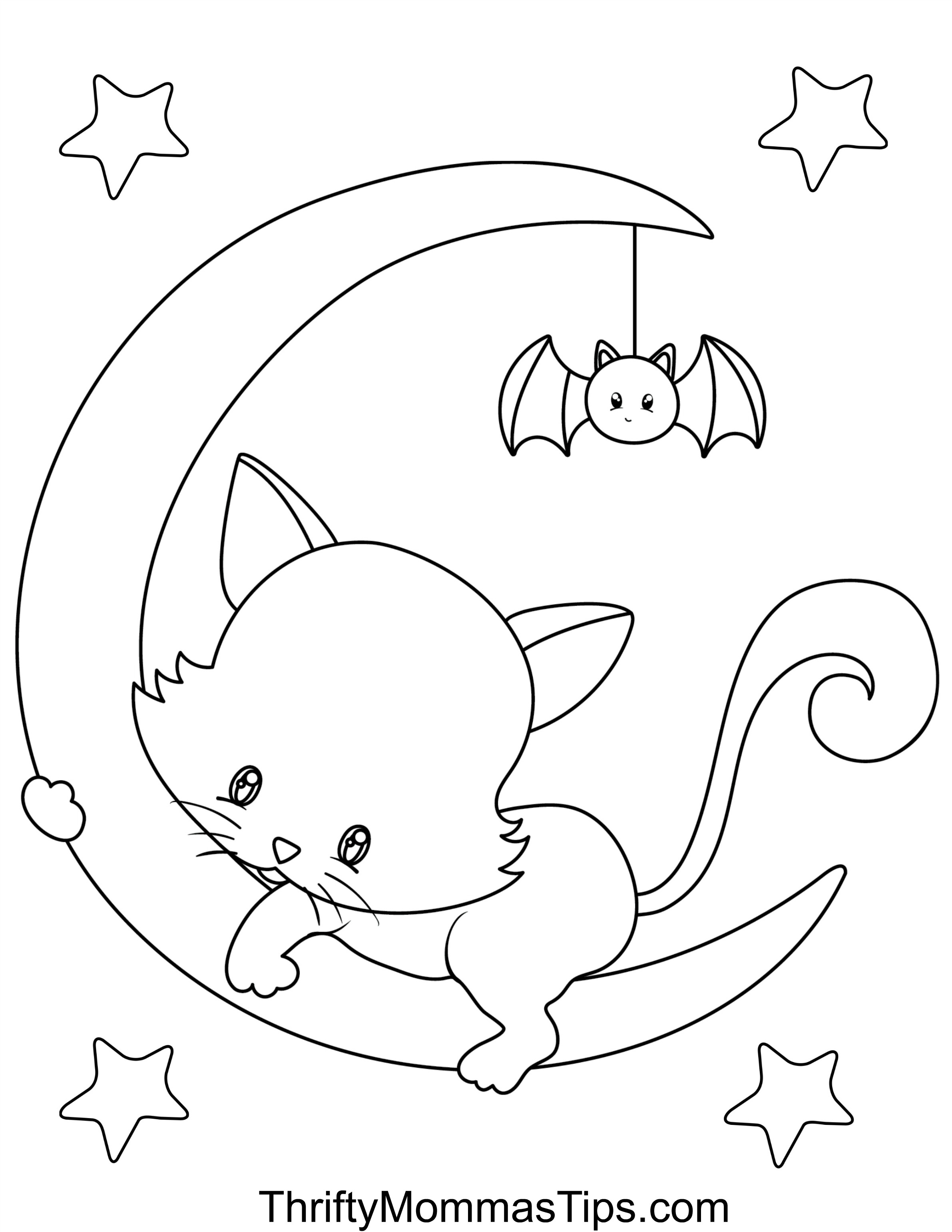 Halloween Cats Colouring Book - 9 pages - Thrifty Mommas Tips