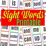 Common Sight Words Printable –  Kindergarten to Grade One