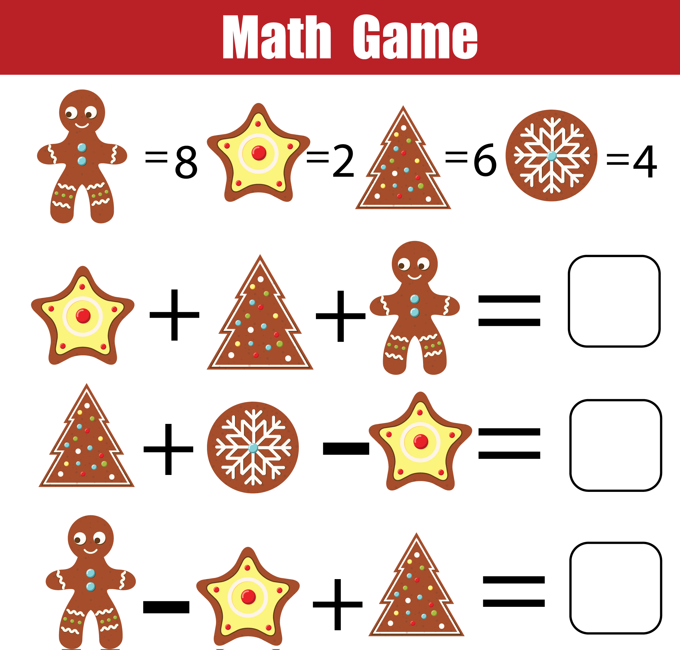 Christmas Math Game Printable