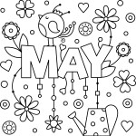 Positive and Cheery May Colouring Page Activity
