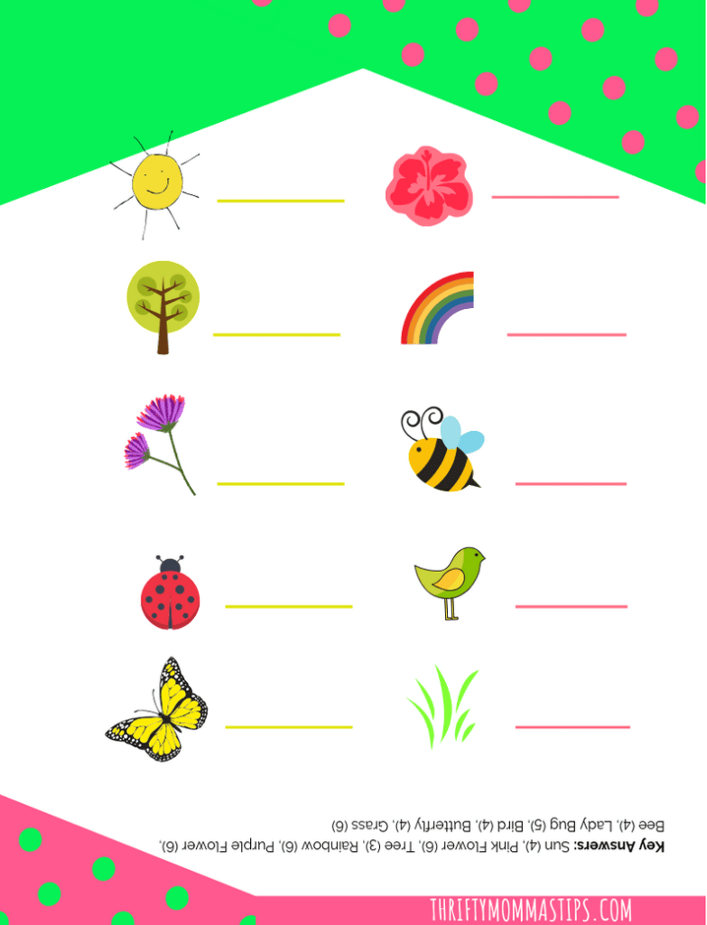 I spy spring printable word game