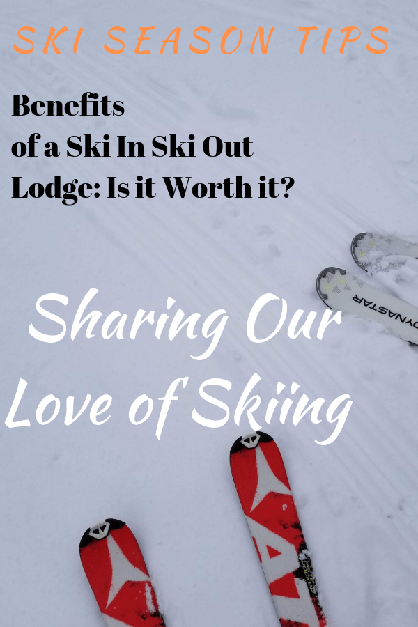 skis on snow with text overtop of the pinterest image