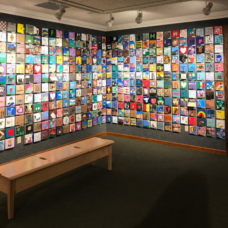 Churchill_museum_temporary_exhibit_by_school_kids_colourful_tiles_illustrating_a_special_relationship