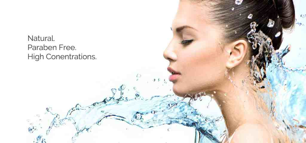 woman in water hydrating her skin