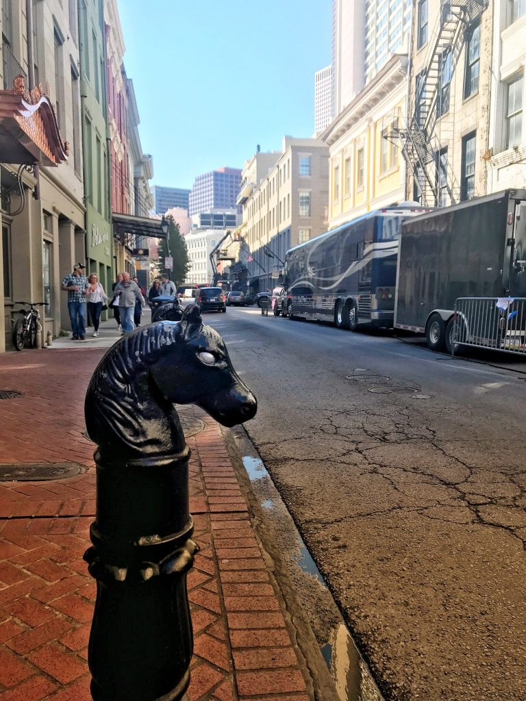 The French quarter horse hitching post and streetscape