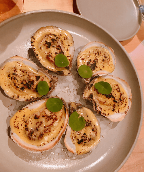 oysters topped with squash puree