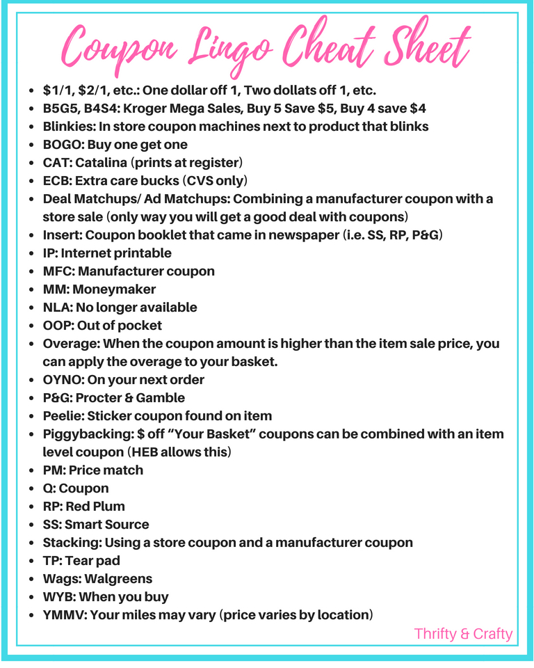 Coupon Lingo Cheat Sheet Thrifty Crafty