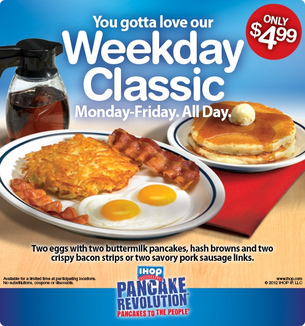 IHop 4 99 Breakfast All Day & Kids Eat Free Thrifty