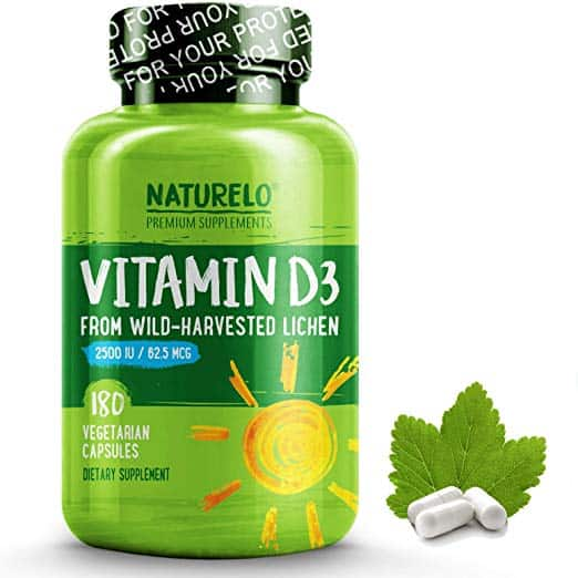 NATURELO Vitamin D - 2500 IU - Plant Based - from Lichen - Best Natural D3 Supplement for Immune System, Bone Support, Joint Health - Whole Food - Vegan - Non-GMO - Gluten Free