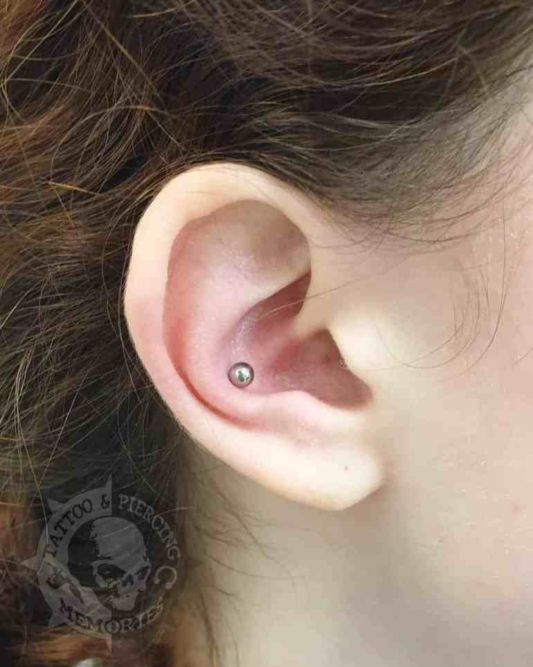 Hoops And Stud Single Conch Piercing