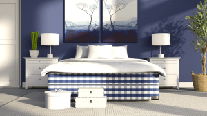 Bedroom with dark blue walls. Bed with white comforter and blue and white plaid sheets. White lamps on white nightstands on either side of bed. White shoe boxes at foot of bed.