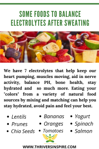 """Pinterest pin entitled: """"Some foods to balance electrolytes after sweating"""" infographic: """"We have 7 electrolytes that help keep our heart pumping, muscles moving, aid in nerve activity, balance PH, bone health, stay hydrated and so much more. Eating your """"colors"""" from a variety of natural food sources by mixing and matching can help you stay hydrated, avoid pain and feel your best.: Lentils, Prunes, Chia Seeds, Tomotoes, Salmon, Bananas, Oranges, Yogurt, Salmon"""""""