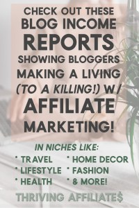 Affiliate Marketing Income Report (or blogging income reports) are so inspiring! And this one shows a bunch of different kinds of blogs, all making money with affiliate marketing in different niches! #thrivingaffiliates #affiliatemarketing