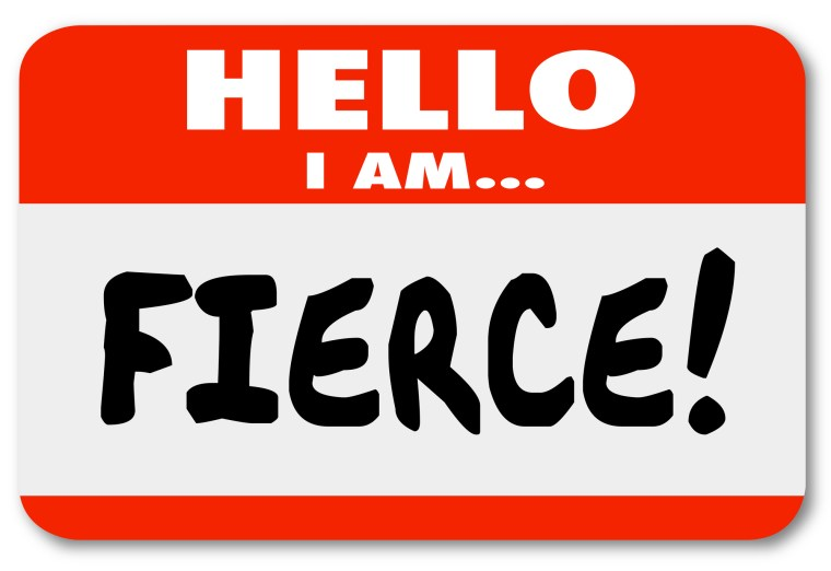words on a red name tag or sticker warning others you are bold and fiercely loyal