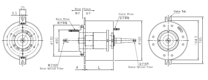 2 Channel Electro Optical Slip Ring / Rotating Electrical