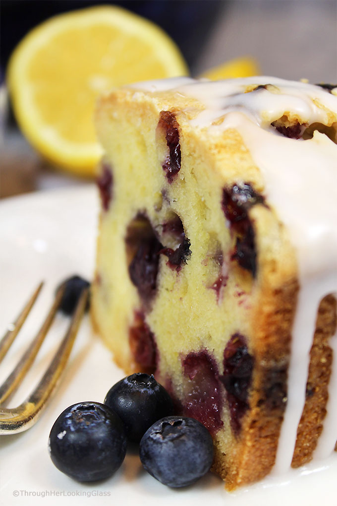 Glazed Lemon Blueberry Pound Cake - Through Her Looking Glass