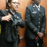 kayla and waynes in elevator
