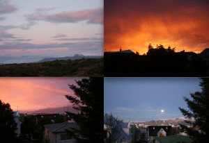 Midnight sunsets in Iceland--even in nature, the time of sunrise/sunset is flexible