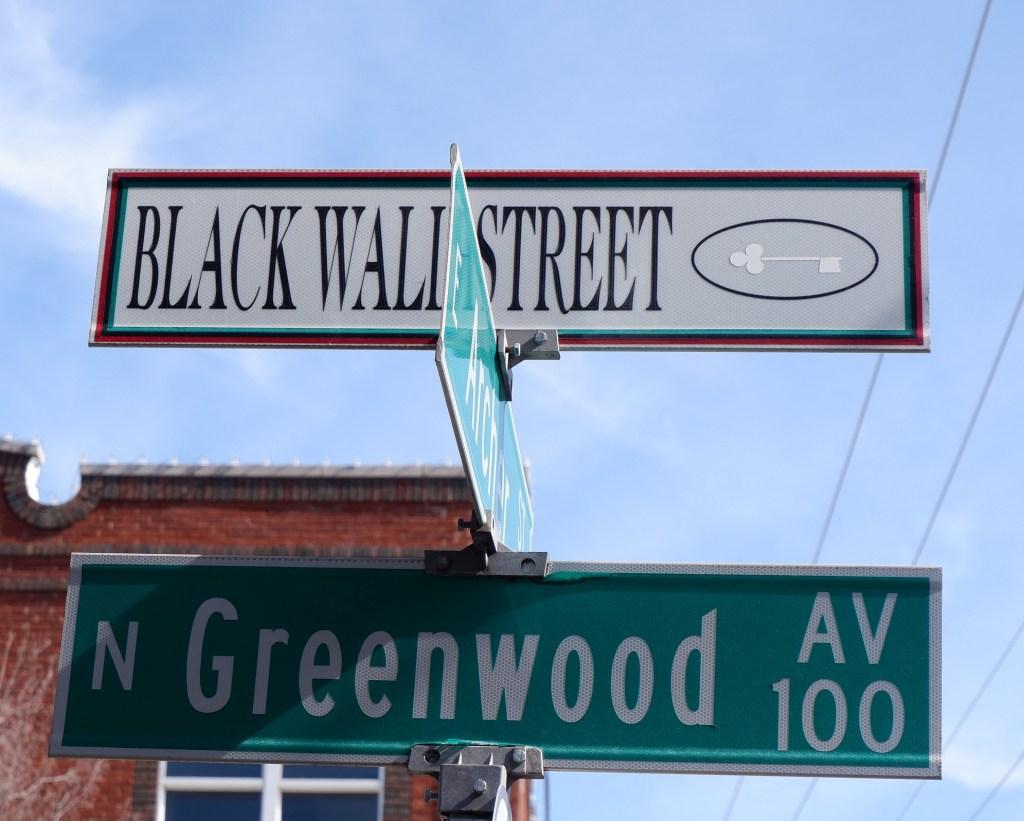Black Wall Street Greenwood Ave. Street Sign