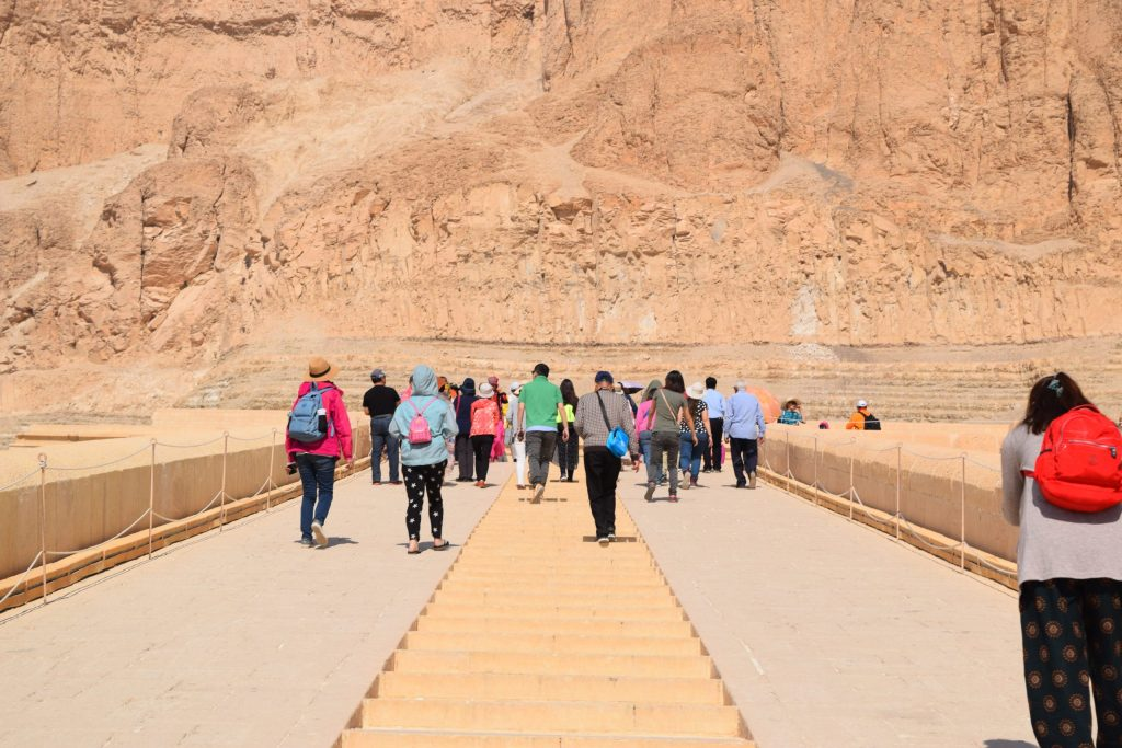 Walking to the mortuary Temple of Queen Hatshepsut