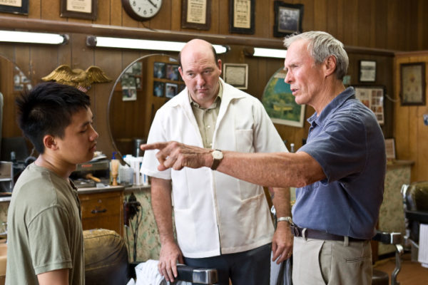 """(L-r) Thao (BEE VANG), Martin (JOHN CARROLL LYNCH) and Walt Kowalski (CLINT EASTWOOD) in Warner Bros. Pictures' and Village Roadshow Pictures' drama """"Gran Torino,"""" distributed by Warner Bros. Pictures. PHOTOGRAPHS TO BE USED SOLELY FOR ADVERTISING, PROMOTION, PUBLICITY OR REVIEWS OF THIS SPECIFIC MOTION PICTURE AND TO REMAIN THE PROPERTY OF THE STUDIO. NOT FOR SALE OR REDISTRIBUTION."""