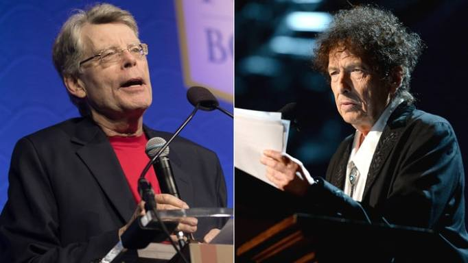 Stephen King discusses his favorite Bob Dylan songs, and why Dylan deserves the Nobel Prize in Literature. Jeff Malet/ZUMA, Michael Kovac/Getty