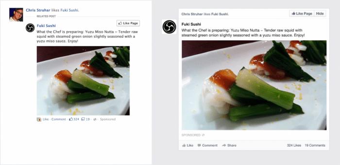 Antes y después. El mismo anuncio en el Facebook actual (izquierda) y el nuevo (derecha).