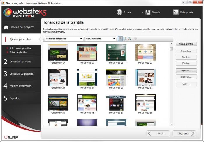 WebSite X5 dispone de más de 1500 plantillas para elegir