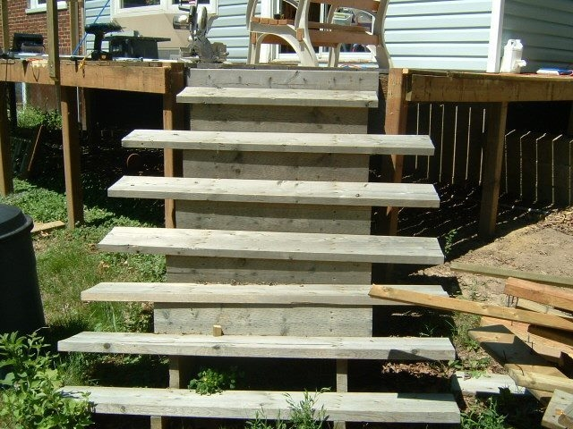 Installing New Deck Stairs Thumb And Hammer | Pressure Treated Stair Treads | Live Edge | Outside | Picture Frame | Step | Unsafe