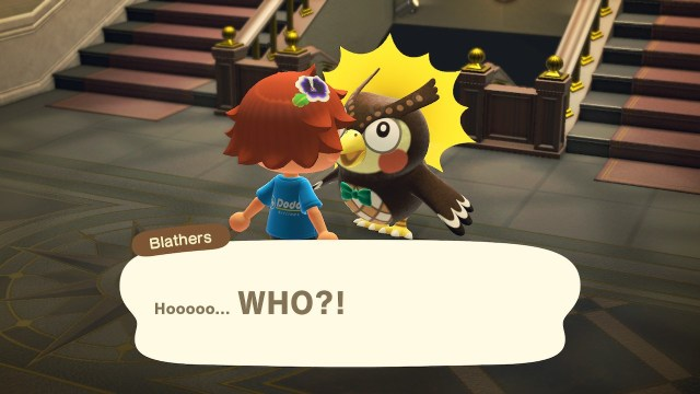 Animal Crossing: New Horizons. Blathers is startled.