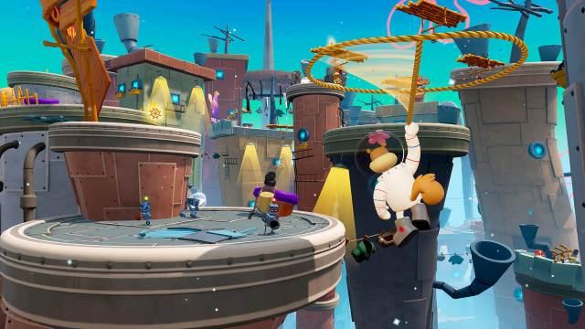 SpongeBob SquarePants: The Battle for Bikini Bottom - Re-hydrated. Sandy takes flight in the downtown area.
