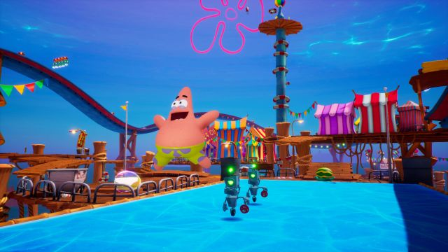 SpongeBob SquarePants: The Battle for Bikini Bottom - Re-hydrated. Patrick runs away from the robots.