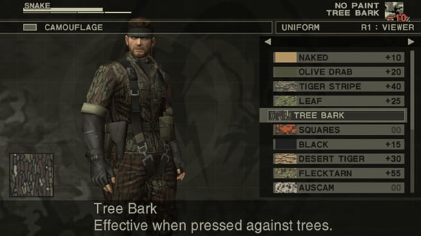 Picking your camo eventually just changed to the octocamo in MGS4 which was more welcome than constant menu navigation