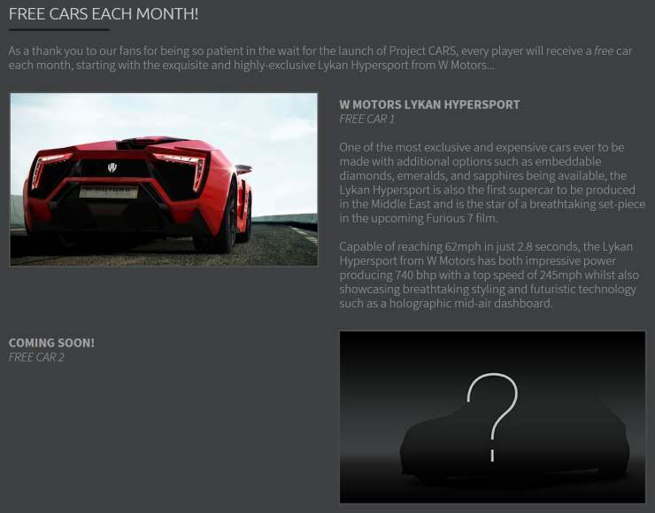 Project CARS free cars