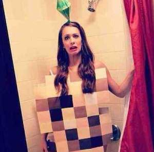 video game halloween costume ideas - showering sim