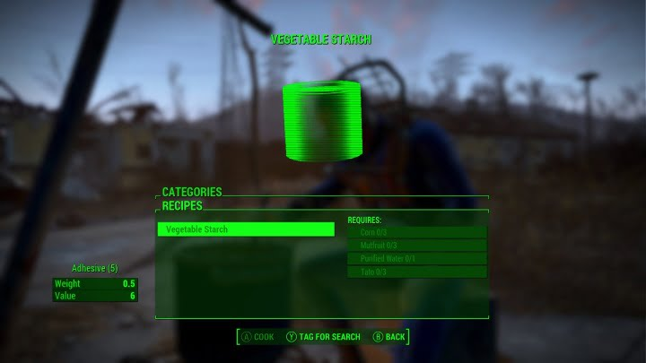 Fallout 4 tips - Vegetable starch adhesive