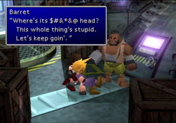 Final Fantasy VII Barrett wheres its head