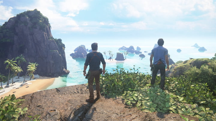 Uncharted 4 photo mode - Nate and Sam island view