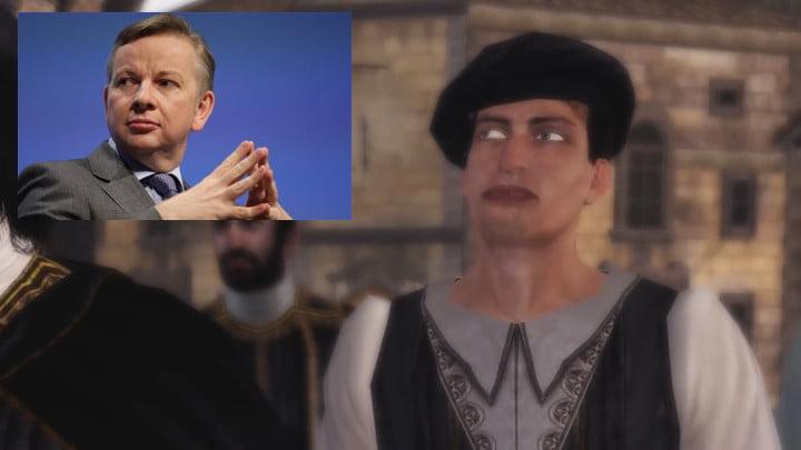 Ezio Collection – freaky NPC looks like Michael Gove