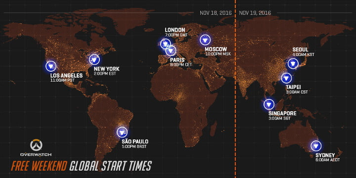 Overwatch free weekend times