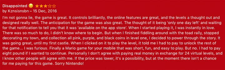 Super Mario Run App Store Review