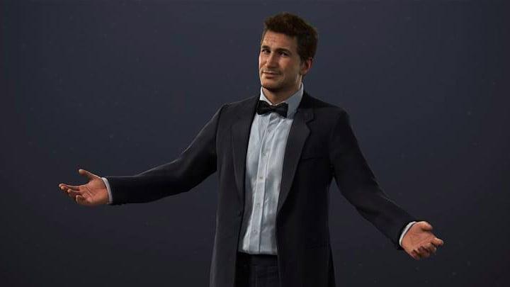 Nathan Drake in a Bond tuxedo