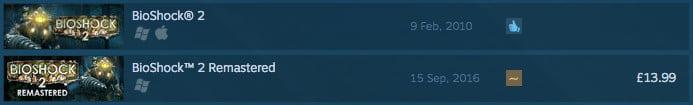 BioShock 2 Steam search