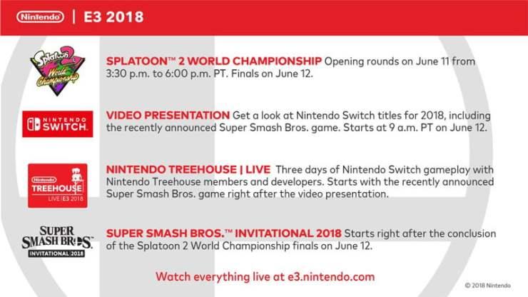 NIntendo E3 2018 schedule
