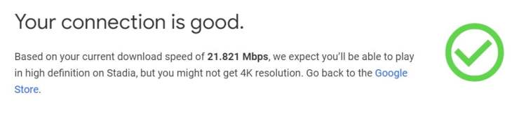 Google Stadia speed test UK fibre