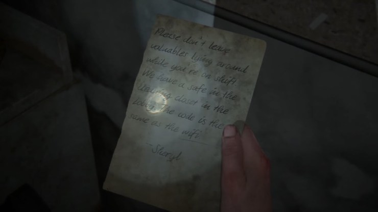 The Last of Us Part II hotel gym safe code note