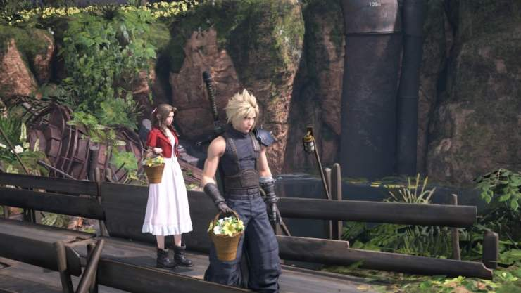 final fantasy vii remake cloud aerith flower picking