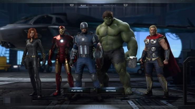 Marvels Avengers beta title screen