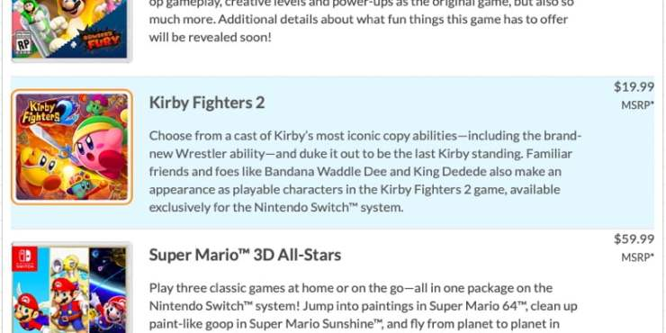 Kirby Fighters 2 - Nintendo Switch listing